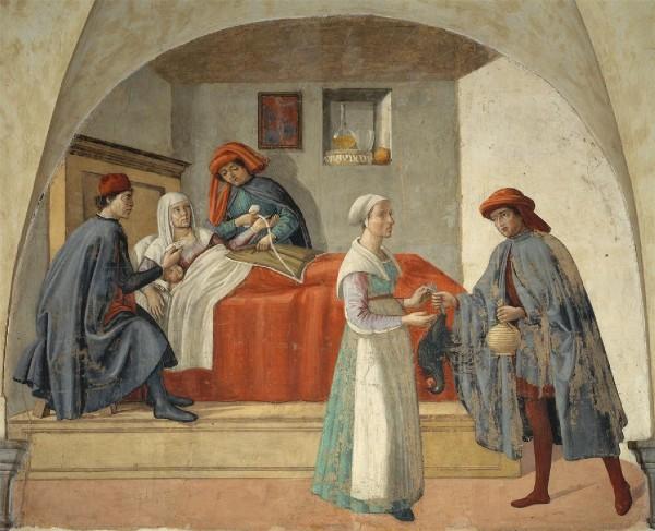 : Besuch einer Wöchnerin (um 1480)